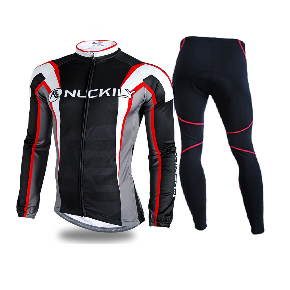 Mens Windproof Cycling Bike Bicycle Sport Clothing Set Long Sleeve Jersey& Pants