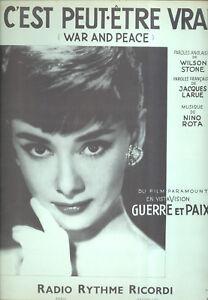 "Noten & Songbooks Musikinstrumente War & Peace Notenblatt "" Krieg Und Frieden Peace "" Audrey Hepburn Nino Rota äSthetisches Aussehen"