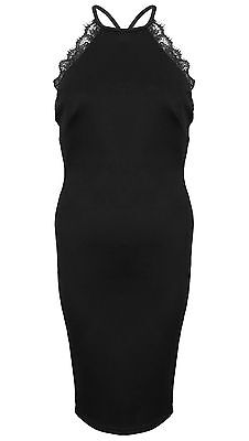New Eyelash Lace Trim Low Back Strappy High Neck Midi Bodycon Party Zip Dress