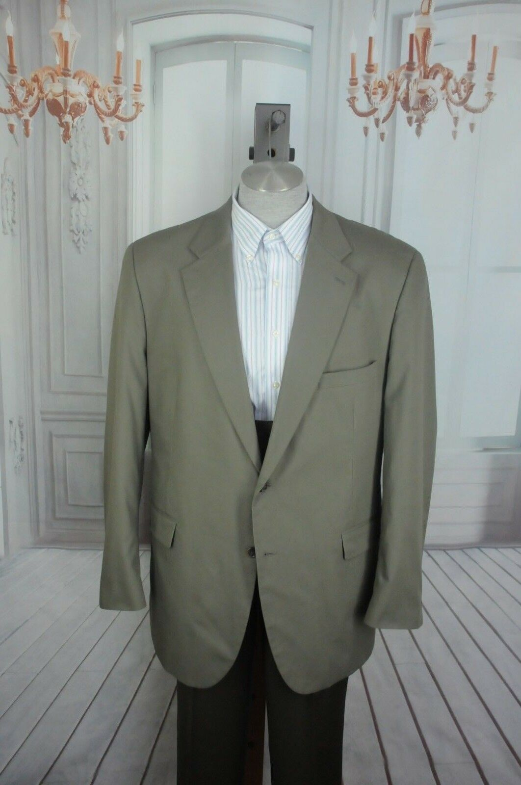 Brooks Stretch Men's Taupe Cotton Polyester Sport Coat Blazer 48L 48 L