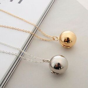 Opened ball pendant necklace conceal secret locket silver gold chain image is loading opened ball pendant necklace conceal secret locket silver aloadofball Images