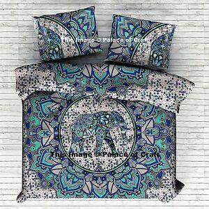 New Doona Duvet Cover Elephant Mandala Bedding Set Indian Reversible Quilt Cover
