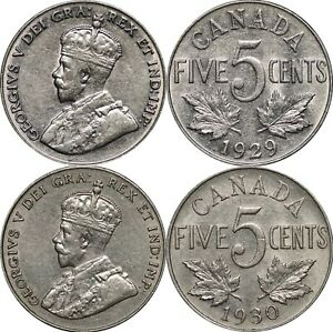 1929-amp-1930-Canada-Five-Cents-KM-29-Lot-of-2-Lustrous-AU-Coins