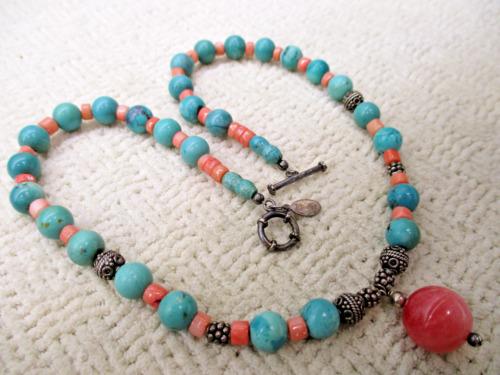 Polished Semi Precious Turquoise Necklace