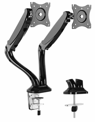 DUAL ARM TV LCD MONITOR DESK MOUNT BRACKET ARTICULATING SWIVEL GAS SPRING
