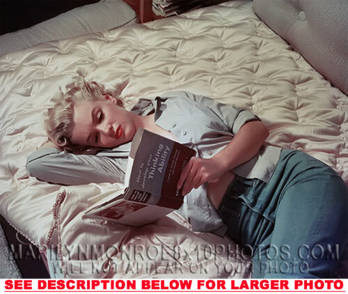 MARILYN MONROE READING IN BED RARE 4x6 PHOTO 1
