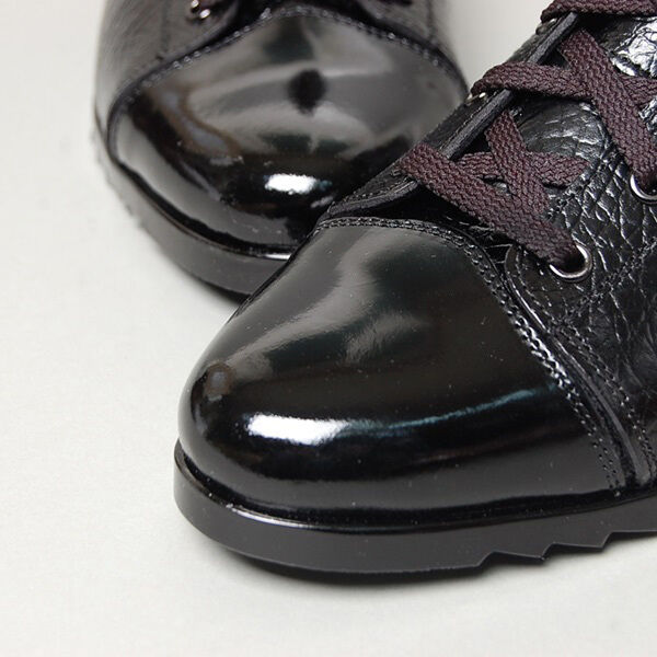 Para hombres Cuero Negro forma única de arrugas Cremallera Lateral Lateral Cremallera Botas al tobillo con UPS atrás PULSE c6a7a7
