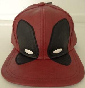 b22810f3e36 Image is loading Deadpool-Big-Face-Distressed-PU-Marvel-Snap-Back-