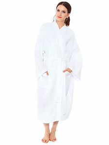 Unisex Hot New Long Kimono Cotton White Waffle Warm Spa Bathrobe ... afcd55d4e