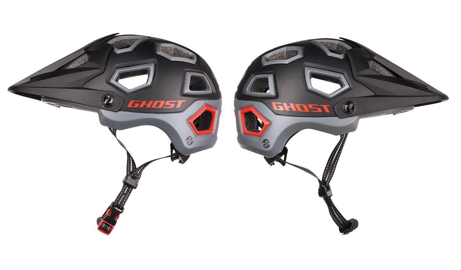 GHOST All Mountain Helmet - in schwarz grau rot - Größe 57-61 cm - Fahrradhelm