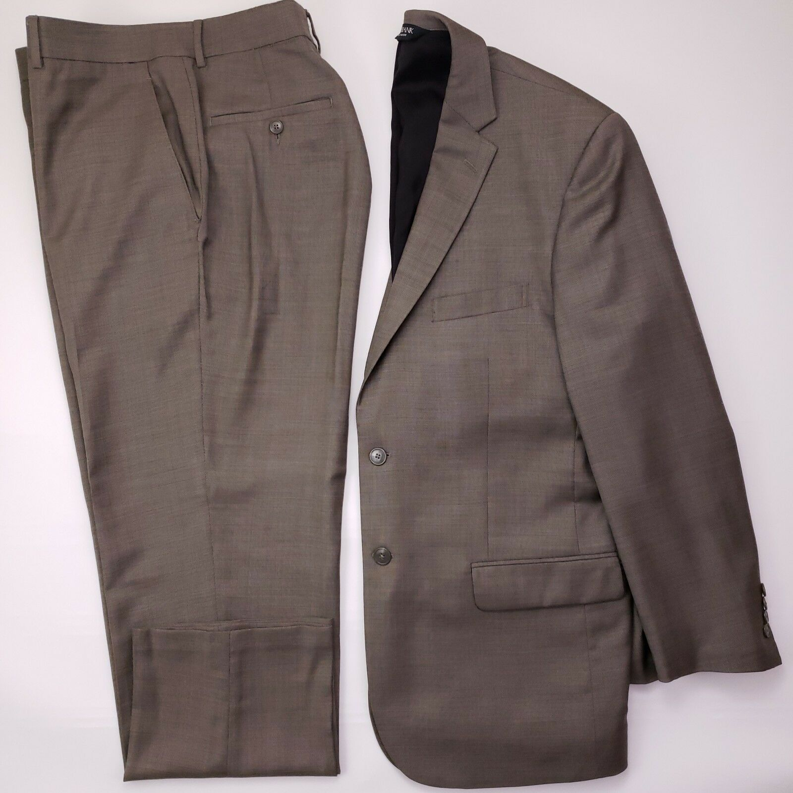 Jos A Bank Suit 42R Slim Fit Brown Taupe 2 Button Wool Mens Sz Travelers Edition