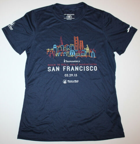 NEW 2015 San Francisco Marathon WOMENS Running Jogging NAVY Shirt BROOKS Large