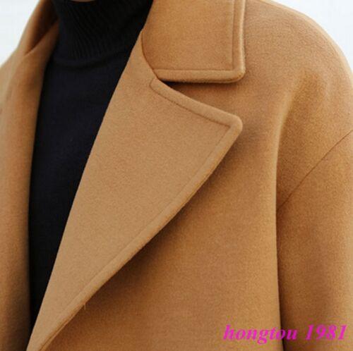 British Men/'s Lapel Cachemire mélange laine double boutonnage Trench Pardessus vestes