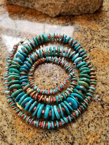 Navajo-Sterling-Silver-Blue-Green-Turquoise-Spiny-Oyster-Graduated-Necklace-36
