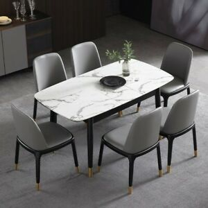 Modern 55 To 71 Extendable Dining Table Rectangular Faux Marble Top Black Legs Ebay