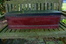 Primitive Painted Wood Tool Box Chest W Tray
