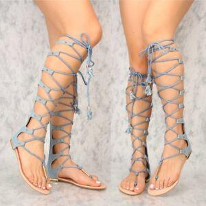 dadafafd340 Light Denim Open toe Strappy Mid Calf Knee High Boots Sandals Flat ...