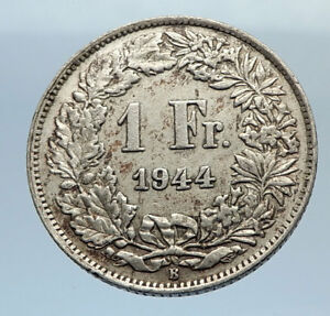 1944-SWITZERLAND-SILVER-1-Franc-Coin-HELVETIA-Symbolizes-SWISS-Nation-i71663