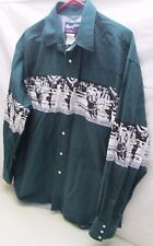Wrangler Mens Pearl Snap Cowboy Rodeo Western Shirt  XL Green