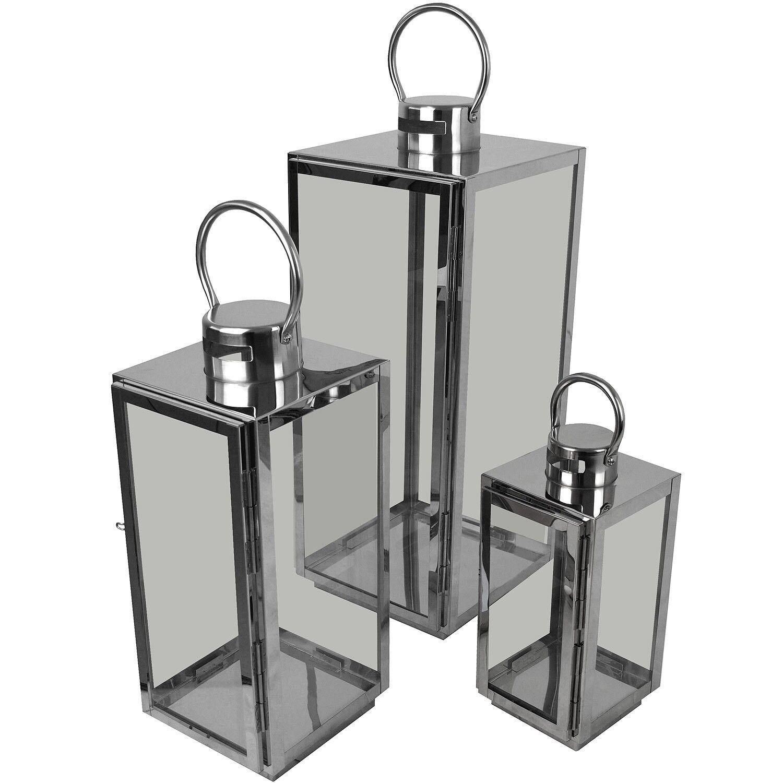 3er Set Laternen Windlichter H56 42 30cm Metall Glas Gartenlaterne Silber