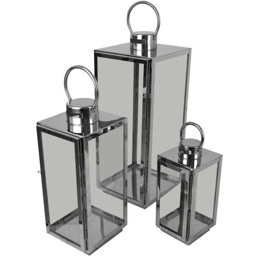 3er Set Laternen Windlichter H56//42//30cm Metall Glas Gartenlaterne Silber