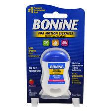 Bonine Treats & Prevents Motion Sickness Raspberry 12 Tablets -Exp 10/16