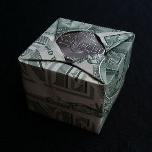Details about Origami Square BOX Money Storage Wedding Gift Two Real $1  Dollar Bills Mini Case