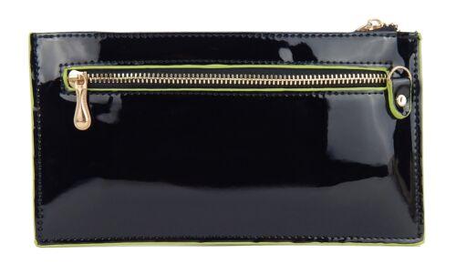 Ella Jonte Geldbörse schwarz grün Lack Damengeldbörse Portmonee kleine Tasche