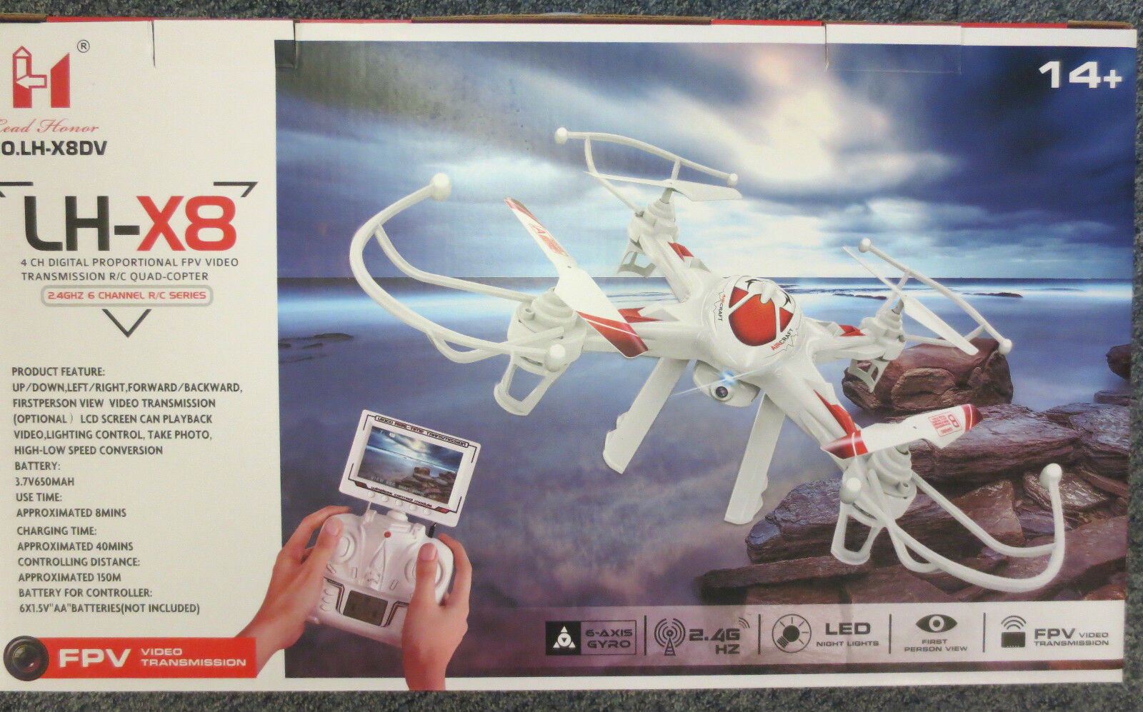 The LH-X8 F (FPV) Quadcopter drone with first person view and LCD Display WI-FI