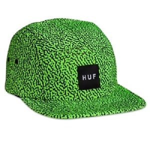 Huf-MEMPHIS-BOX-LOGO-VOLLEY-Lime-Green-Black-5-Panel-Cap-Adjustable-Men-039-s-Hat