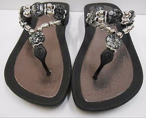 964a5c450950d GRANDCO SANDALS Beach Pool THONG BLACK Dressy BLING FROSTED Jeweled ...