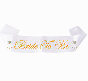 White Gold Sash Bride To Be Party  Girls Hen Night BEST QUALITY Bridal Shower UK