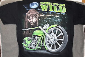 9e93466f9 MOTORCYCLE WOLF MOON BIKER BORN TO BE WILD BIKE T-SHIRT | eBay