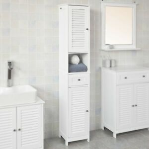 Sobuy White Free Standing Tallboy Bathroom Cabinet Storage Cupboard