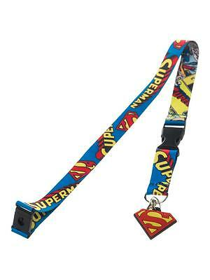 OFFICIAL DC COMICS SUPERMAN ALL OVER COMIC PRINT LANYARD (+ STICKER) [BRAND NEW]