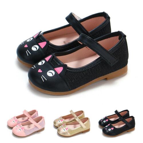 Infant Baby Girls Children Cute Cartoon Cat Leather Single Shoes Princess Shoes