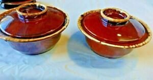 "2 Vintage Hull Brown Drip Glazed Covered Casserole Serving Dish 8.5"" dishes, two"