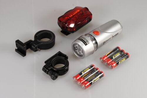 New Bright 5 LED Vélo Cycle 2x avant et 2x arrière feu arrière feux