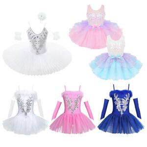 Kids Girls Ballet Dance Dress Leotard Tutu Skirt Ballerina Performance Dancewear