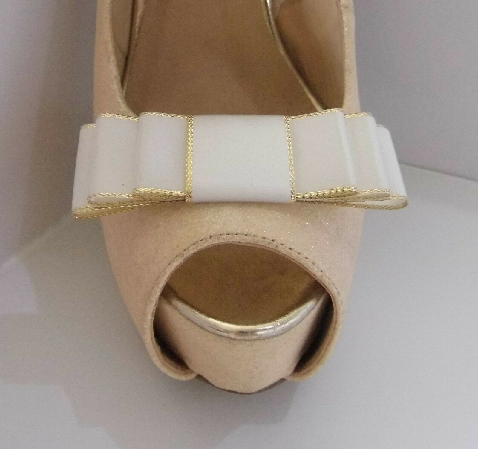 2 Ivory Triple Bow Clips for Shoes with Gold Trim