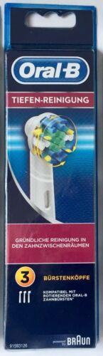 3-er Pack-3 Stück-OVP 3x Original Braun Oral-B Tiefen-Reinigung Aufsteckbürsten
