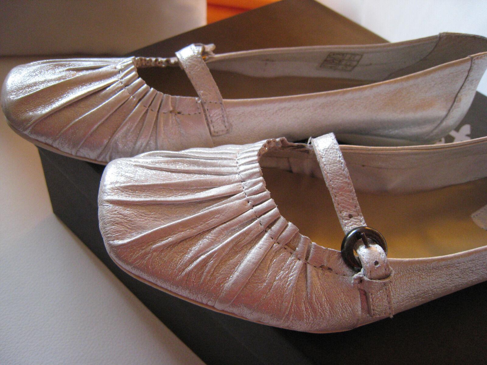 TRENDY  Ballerinas von PAM  Gr. 40  Echtleder silber  NEU