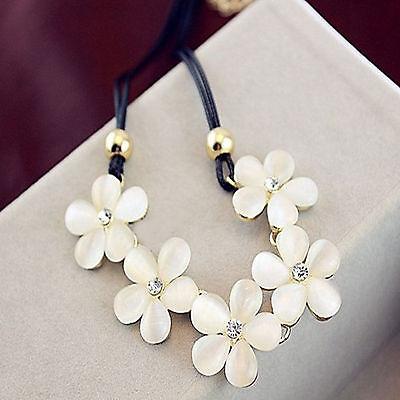 Womens Crystal Flower Choker Chunky Statement Bib Necklace Charm Chain Pendant