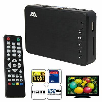 Mini Full 1080P HD Multi Media Player TV BOX 3 Outputs HDMI//VGA//AV USB/&SD Card A
