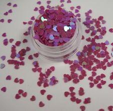 Valentines Nail Art Heart Shape Spangles Glitter Holographic Rose Purple