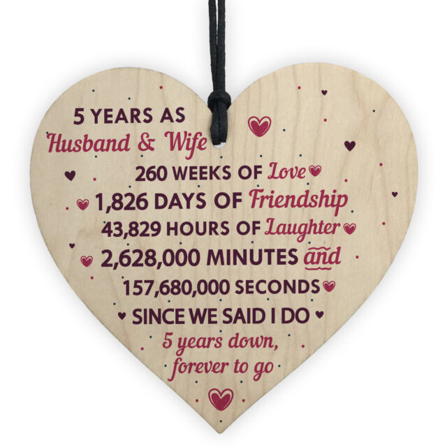 5th Wedding Anniversary Plaque Five Year Anniversary Gift