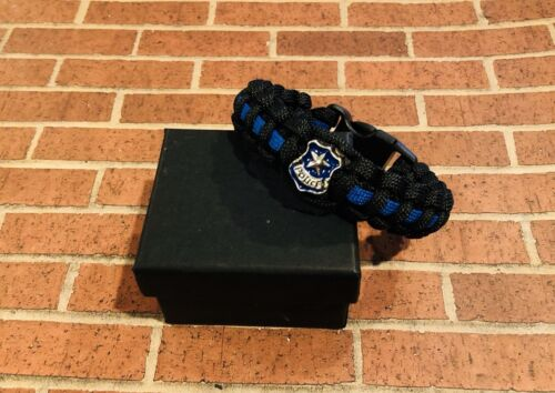 Police Shield Special Thin Blue LineParacord Bracelet Size Large 7-8in Wrist