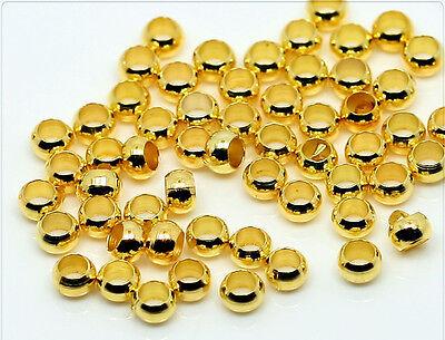 100x Quetschperlen Crimps 3mm goldfarbig sz188