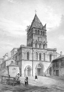 FRANCE-Lyon-Church-of-Saint-Martin-SUPERB-Litho-Antique-Print