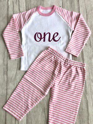 Birthday Princess Party Pyjamas, Dark Pink Glitter Number Pink And White Pjs